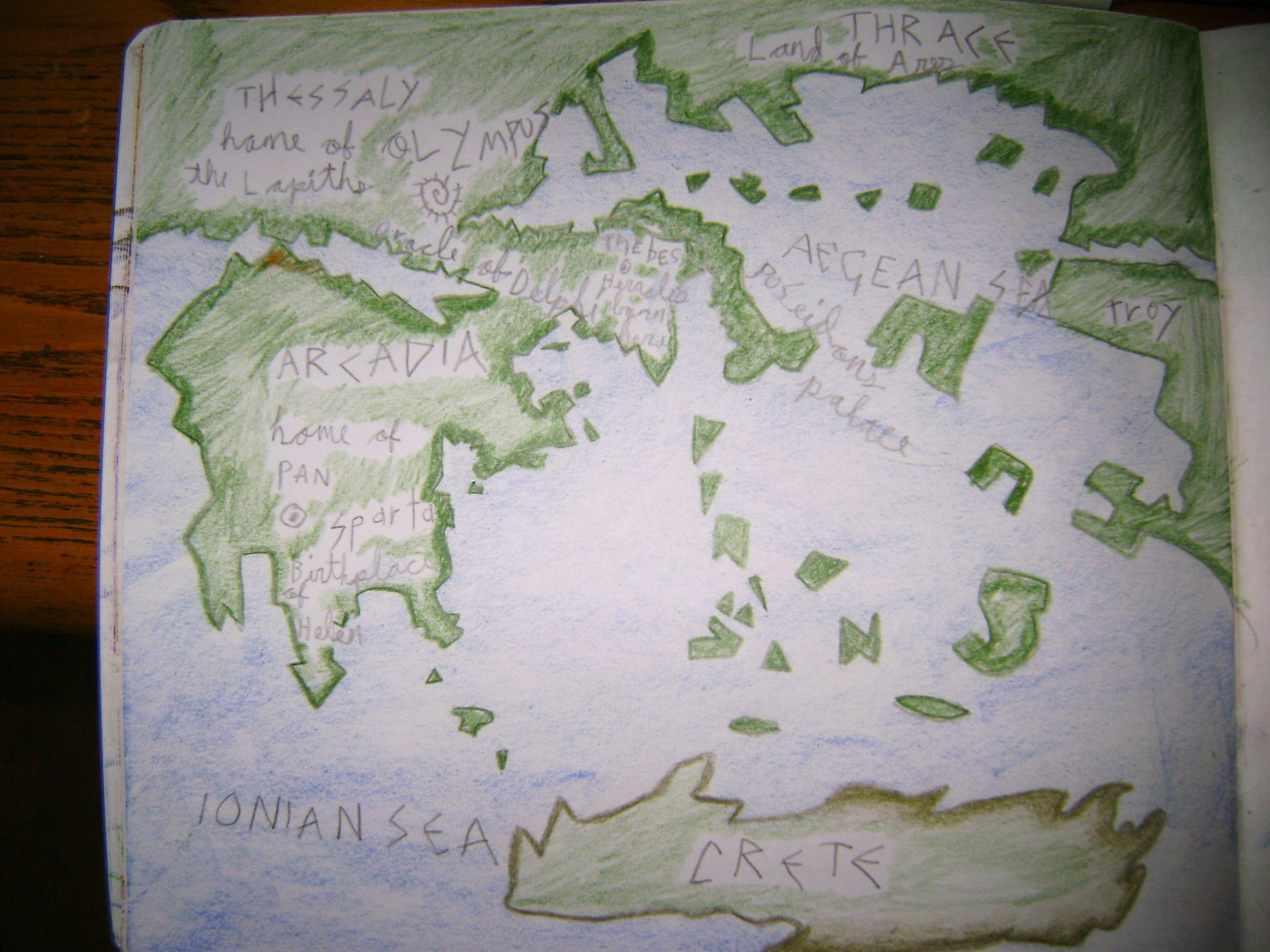 Waldorf 5th grade Ancient Greece map main lesson book AGE
