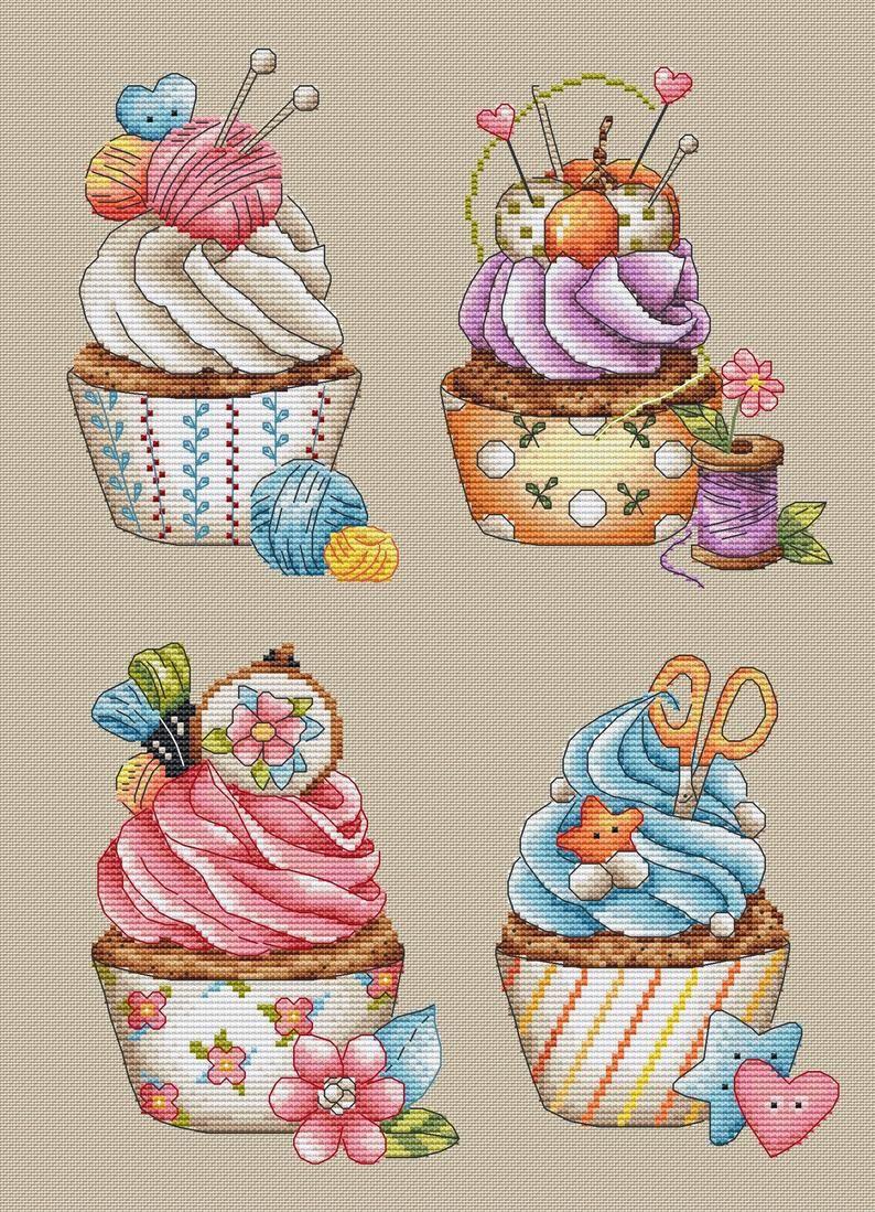 Photo of Cupcake Cross Stitch Pattern PDF Instant Download Summer Cross Stitch Yummy Cross Stitch Star Cross Stitch Cute Cross Stitch Scissors Chart