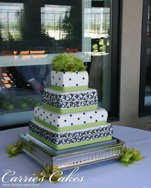 Square cake with green and brown detail