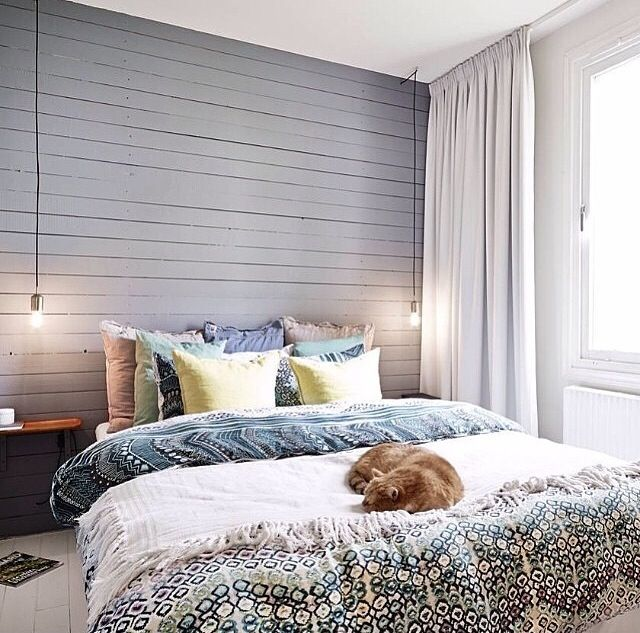 Love The Wooden Shiplap Wall Behind Bed And Floor To Ceiling Curtains Bedroom Interior Bedroom Design Bedroom Decor