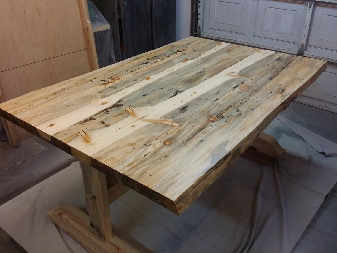 table made from beetle kill pine finished with epoxy to fill the rh pinterest com