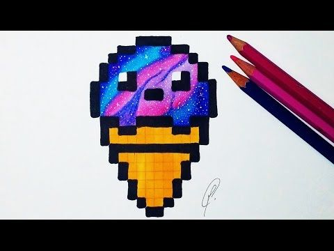Kawaii Ice Cream Pixel Art Galaxy Drawing Youtube