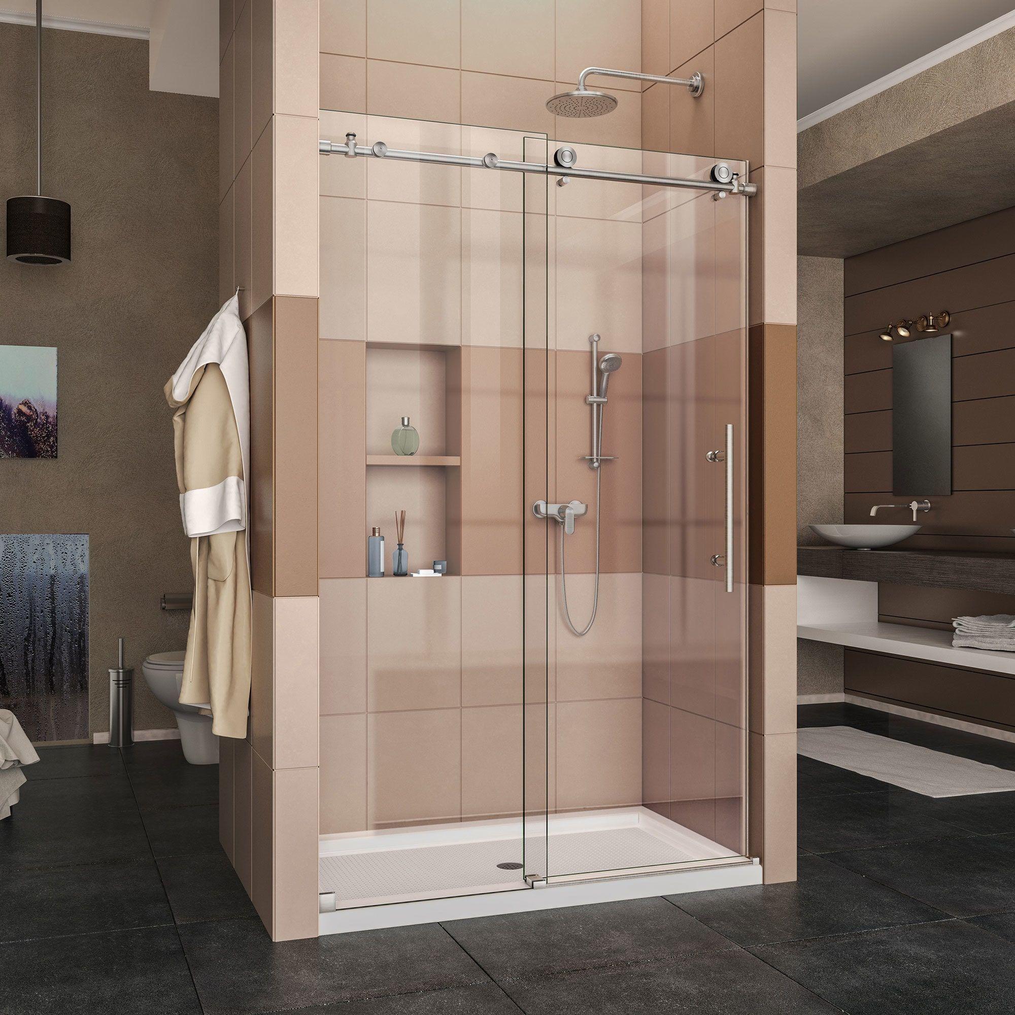 dreamline enigma x 44 to 48 in fully frameless sliding shower door rh pinterest com