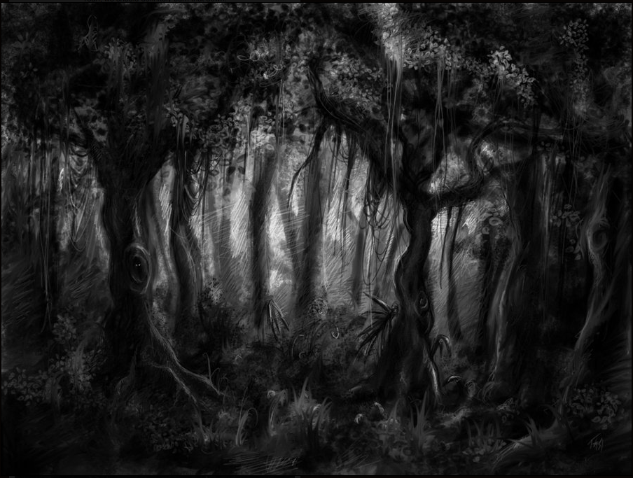 Pin By Karen Daniels On Bring On The Night Dark Forest Forest Drawing Forest Background