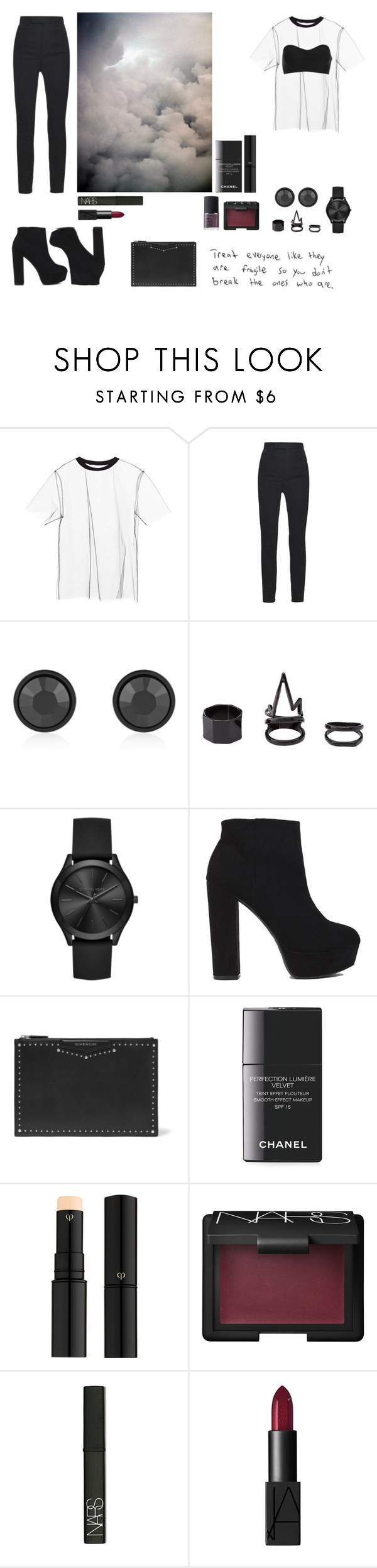 """""""XLVIII"""" by angie-5soslm ❤ liked on Polyvore featuring MSGM, Haider Ackermann, Givenchy, Charlotte Russe, Michael Kors, Chanel, Clé de Peau Beauté and NARS Cosmetics"""