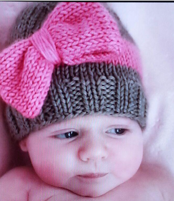 Big Bow Baby Hat Free Knitting Pattern And More Baby Hat Knitting