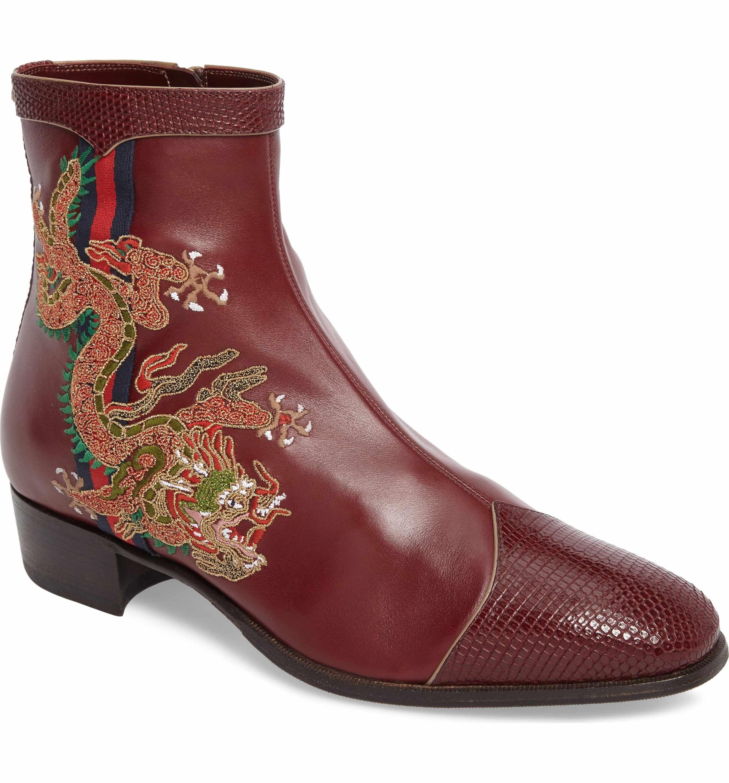 8a0b178e385ac Leather Shoes. Bordeaux Wine. Main Image - Gucci Dragon Zip Boot (Men)  Beard Grooming