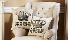 Leather Sofas New King Queen Crowns Decorative Throw Pillow Set His u Hers Elegant Decor Sofa