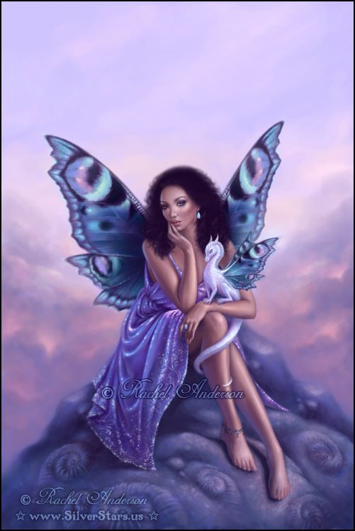 Evanescent ~ butterfly fairy and dragon artwork by Rachel Anderson http://silverstars.us