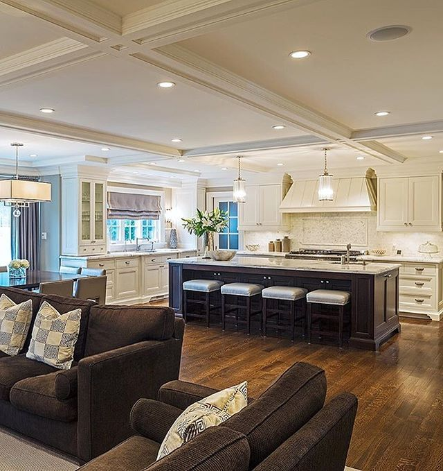 Great Room Kitchen With Large Island: Who Doesn't Love A Big Kitchen Island?!