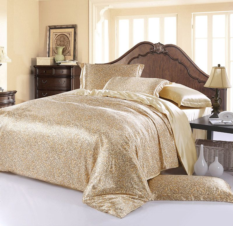 Amorous Feelings Beige Silk Duvet Cover Set Silk Bedding Bed Silk Duvet Cover Silk Bedding
