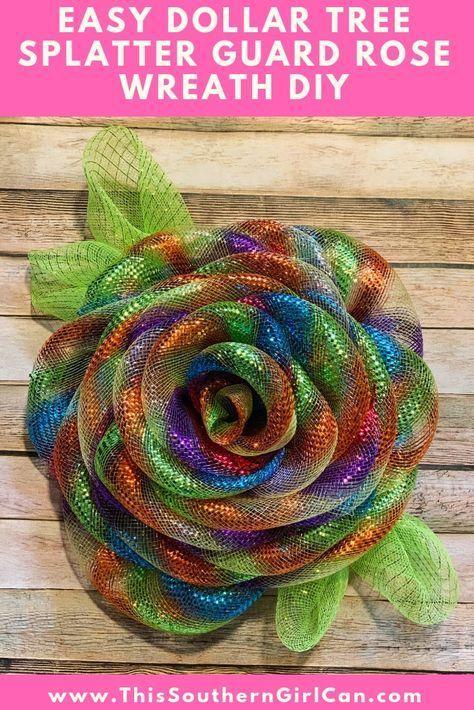 Photo of Easy Dollar Tree Splatter Guard Rose Wreath DIY