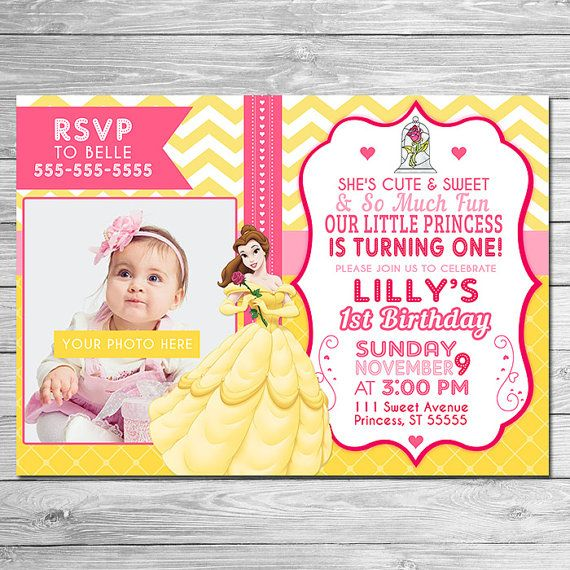 On Sale Beauty And The Beast Invitation Photo Invite Beauty And The Beast Birthday Party Fir Beauty And The Beast Party Beauty And The Beast Fun To Be One