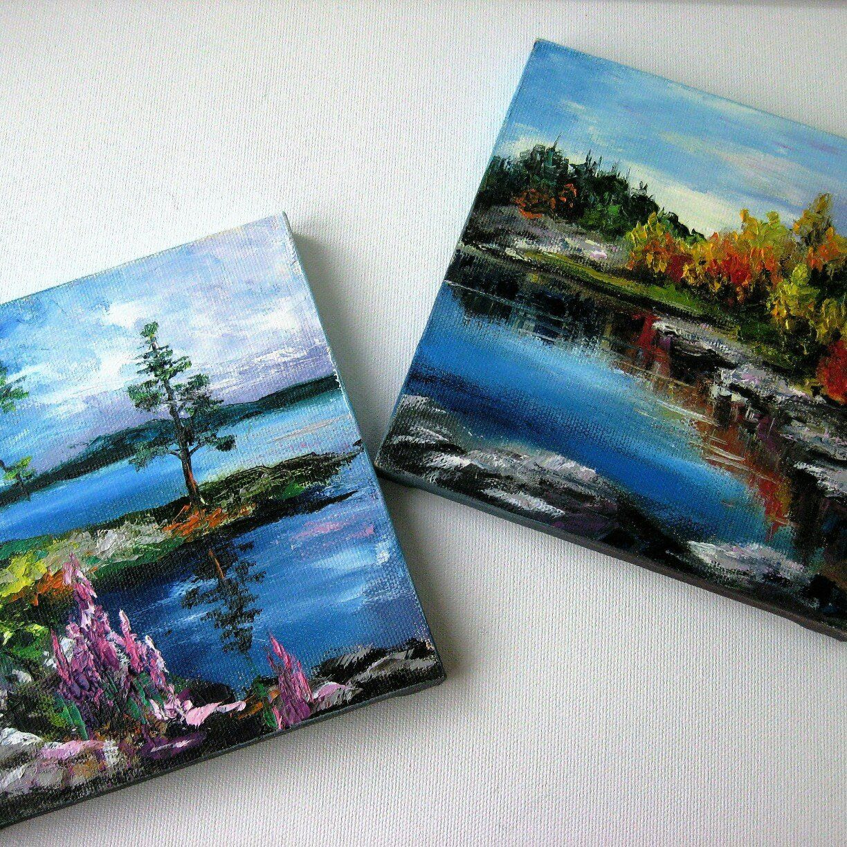Original Pine Forest Lake Landscape Art Small Painting On Canvas