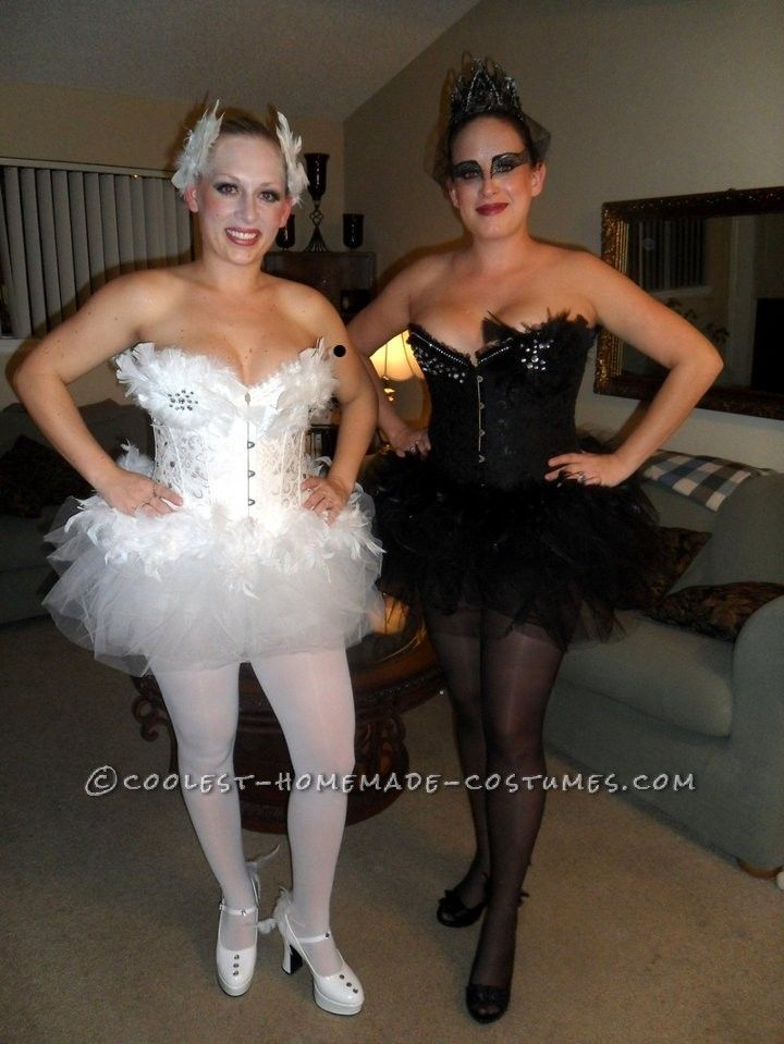 homemade black swan and white swan couple halloween costumes in 2018 sexy halloween costumes pinterest homemade black couple halloween and white swan