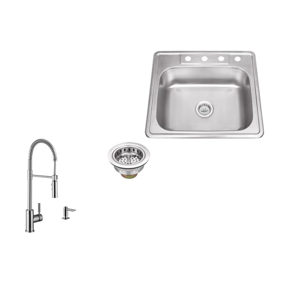 Ipt Sink Company Drop In 25 In 4 Hole Stainless Steel Kitchen