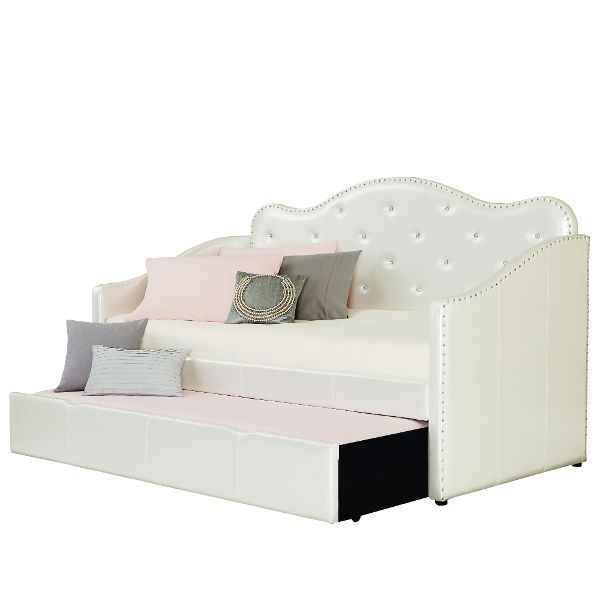 caroline pearl white upholstered daybed with trundle princess rh pinterest com