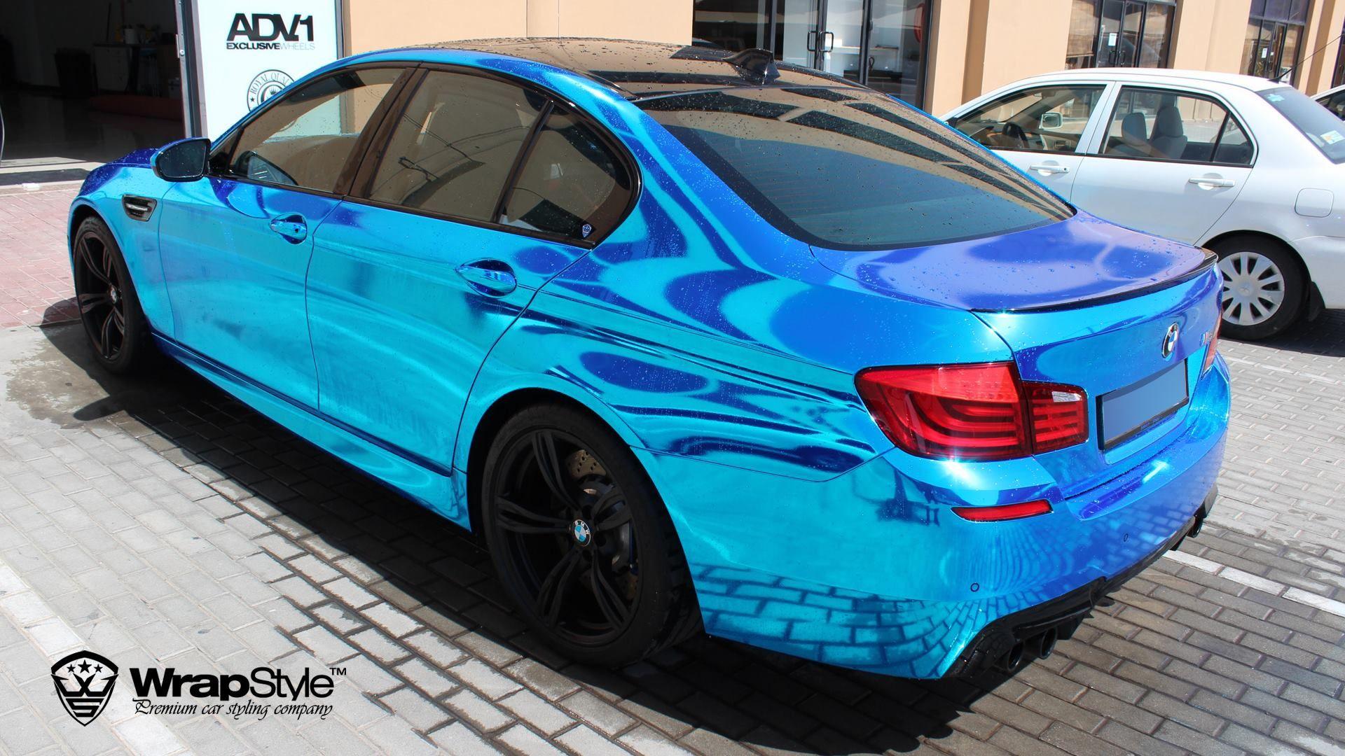 Bmw M5 Blue Chrome Car Wrap Blue Car Bmw M5