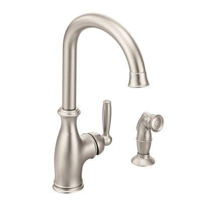 brantford spot resist stainless one handle high arc kitchen faucet rh pinterest com au