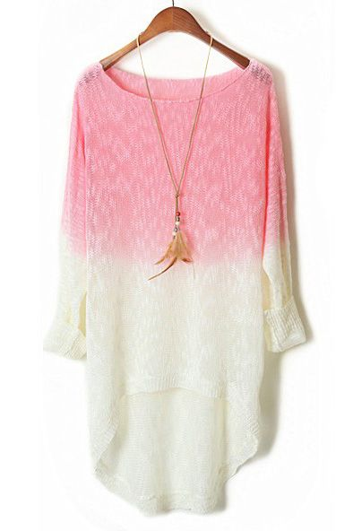 Pink Gradient Batwing Long Sleeve Sheer Sweater - Sheinside.com