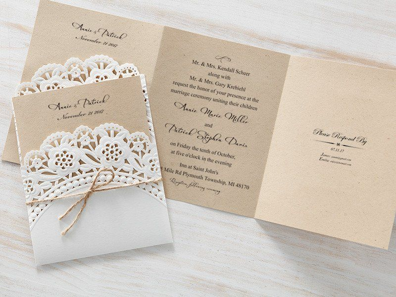 Craft Brown Lace Pocket Vintage Wedding Invitations