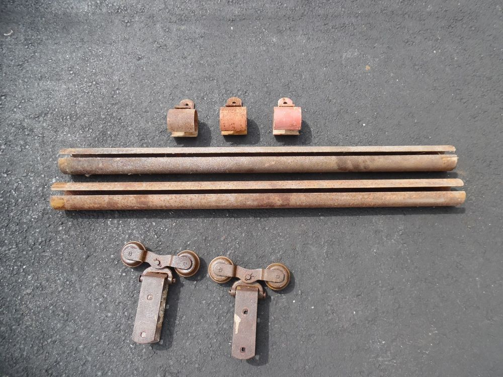 2 Antique Vtg Starline Or Cannonball Barn Door Hardware Rollers W