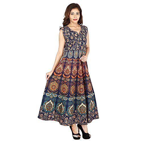67eff656ef6 The Jaipur Bazar presents designer Cotton Women s Maxi Long Dress jaipuri  printed (free size UPTO 44-XXL)