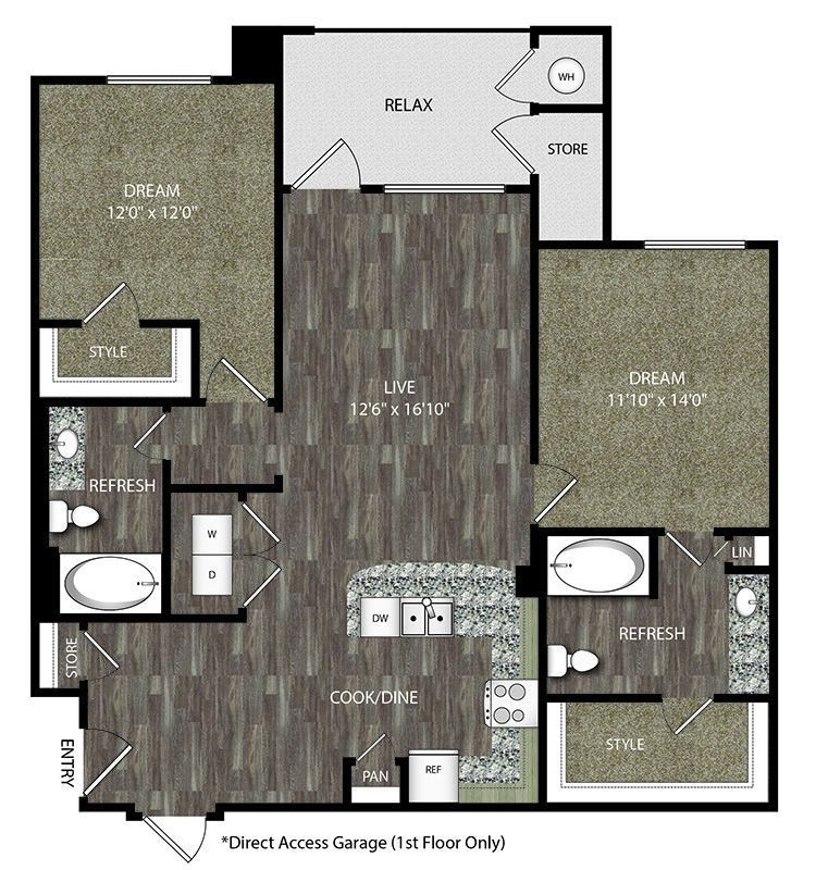 2 Beds, 2 Bathrooms, 1,157 Sq. Ft., Prices Start From
