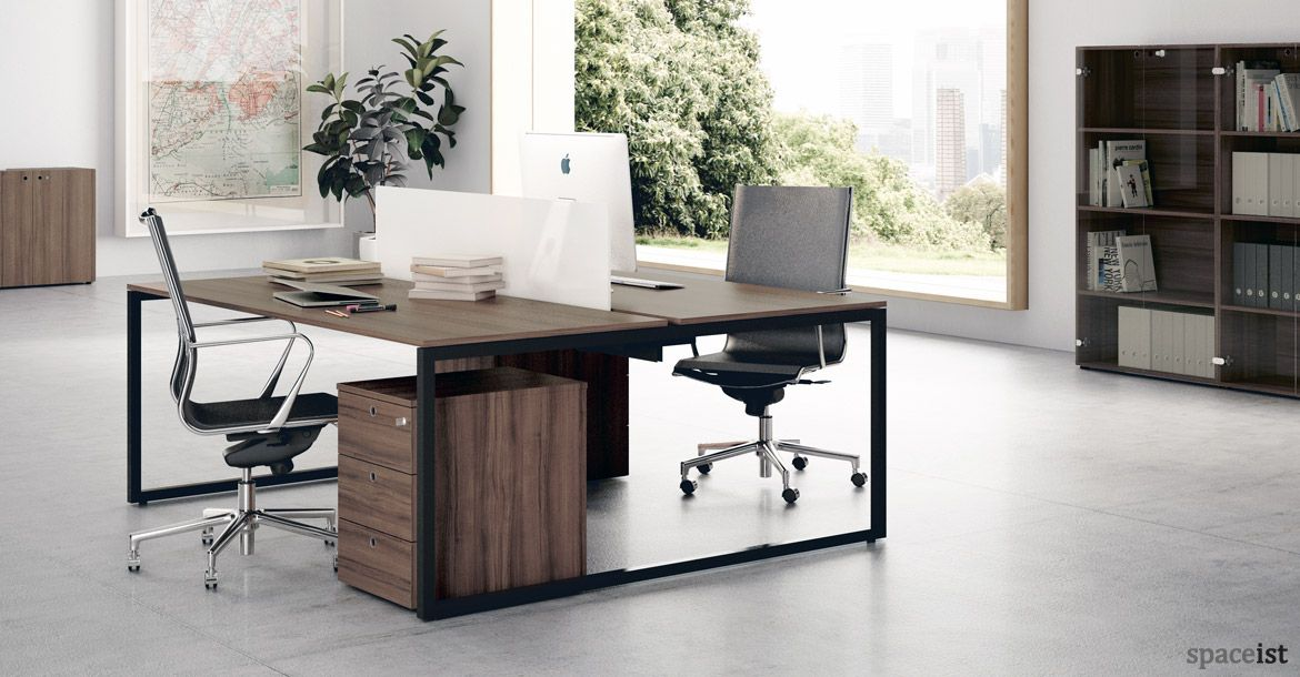 frame walnut black designer office desk office working rh pinterest es