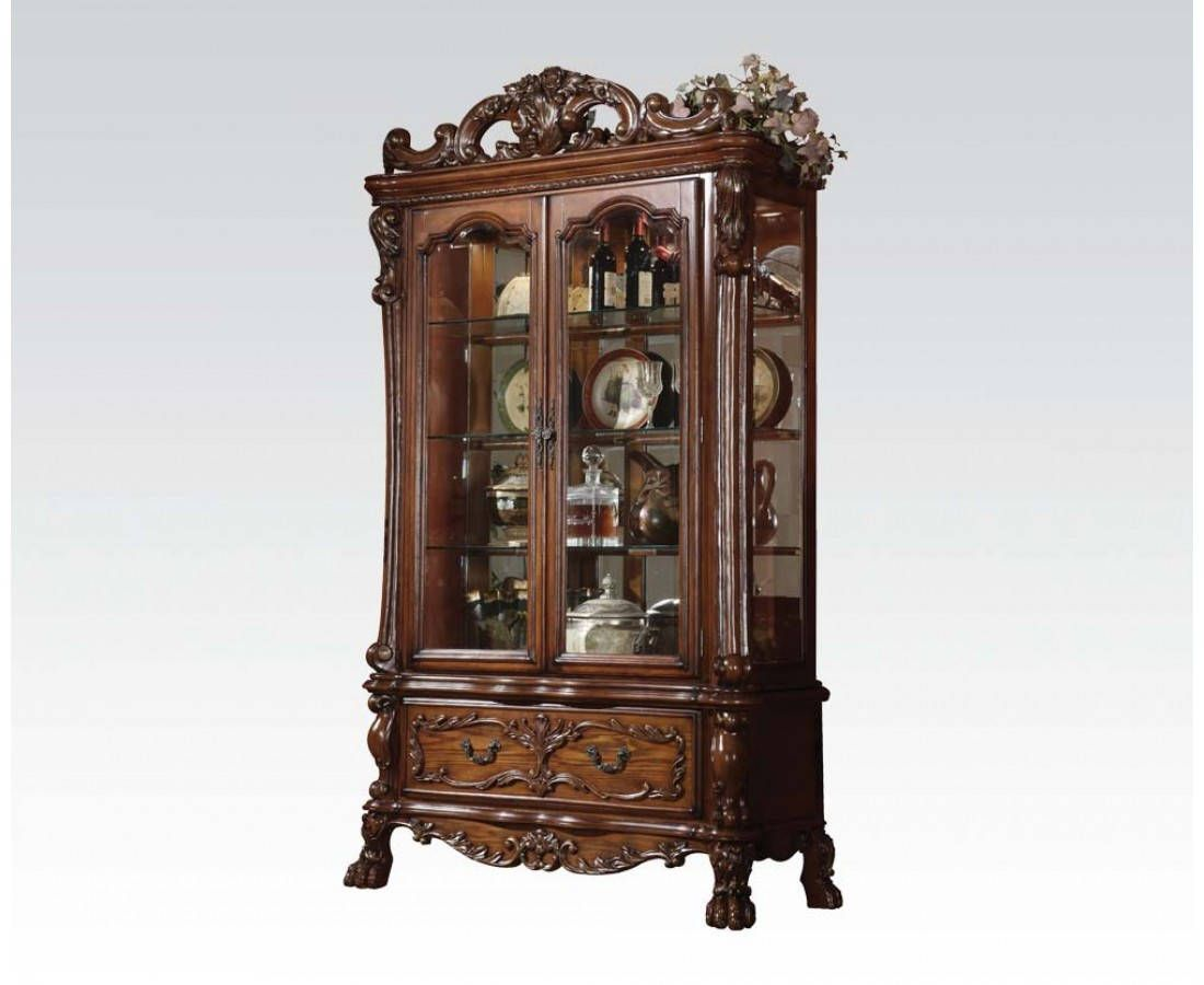 Dresden Traditional Cherry Oak Wood Glass Curio Cabinet … | Pinteres…