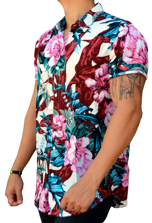 Camisa Floral Masculina Rosa Vinho E Azul Camisa Floral Masculina Camisa Floral Moda Para Homens