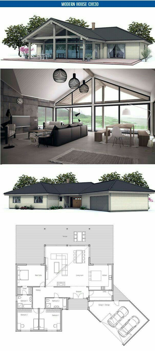 Small house floor plan with open planning