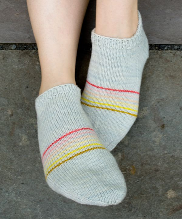 Whit's Knits: Sporty Striped Peds - The Purl Bee - Knitting Crochet Sewing Embroidery Crafts Patterns and Ideas!