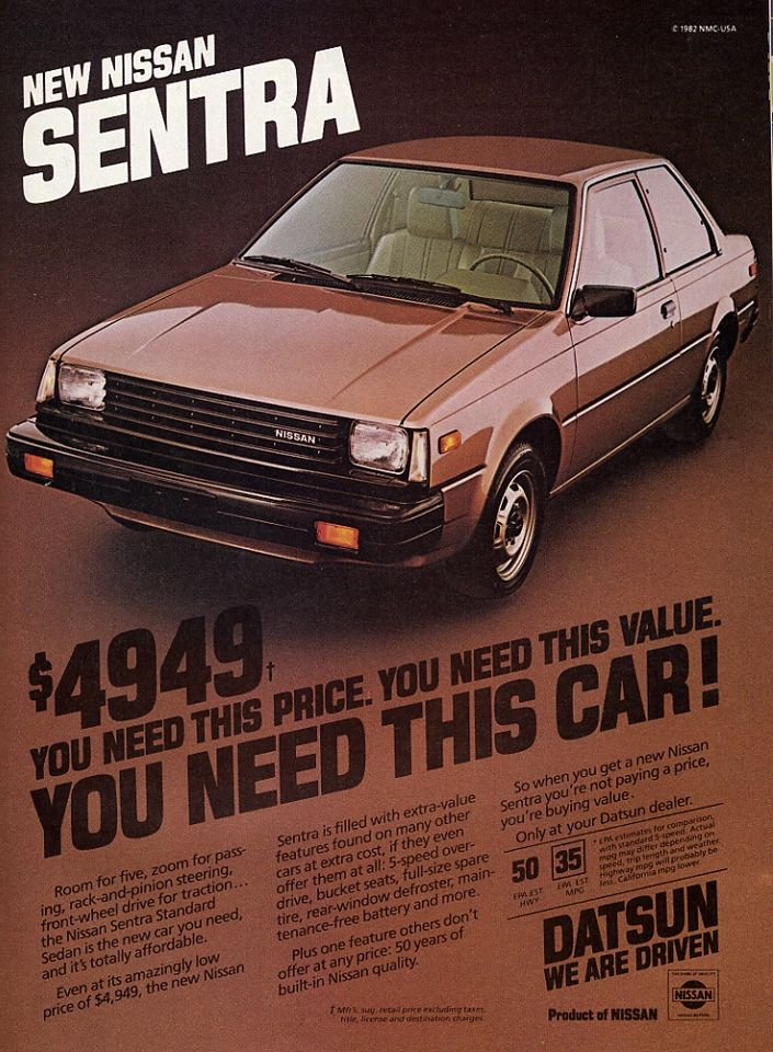 Nissan Sentra Ad The Datsun Name Still Hung On But In A Lesser