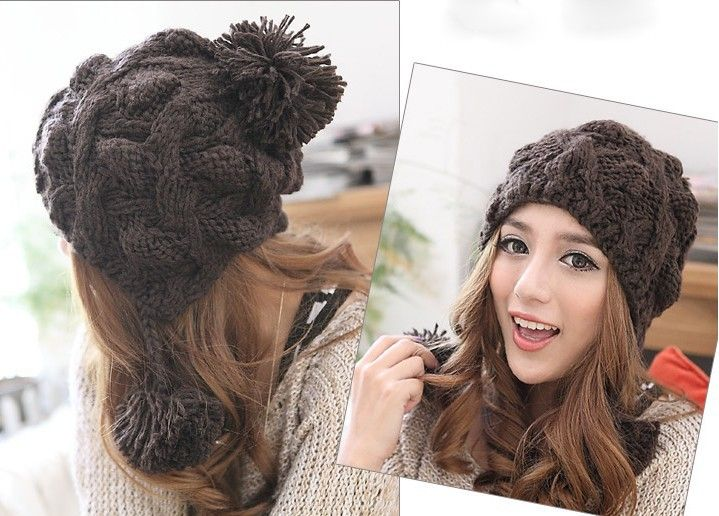 7ee4ba93e50 Patterned Cable Knit Pompoms Chullo Hat - Hats - Accessories Free shipping