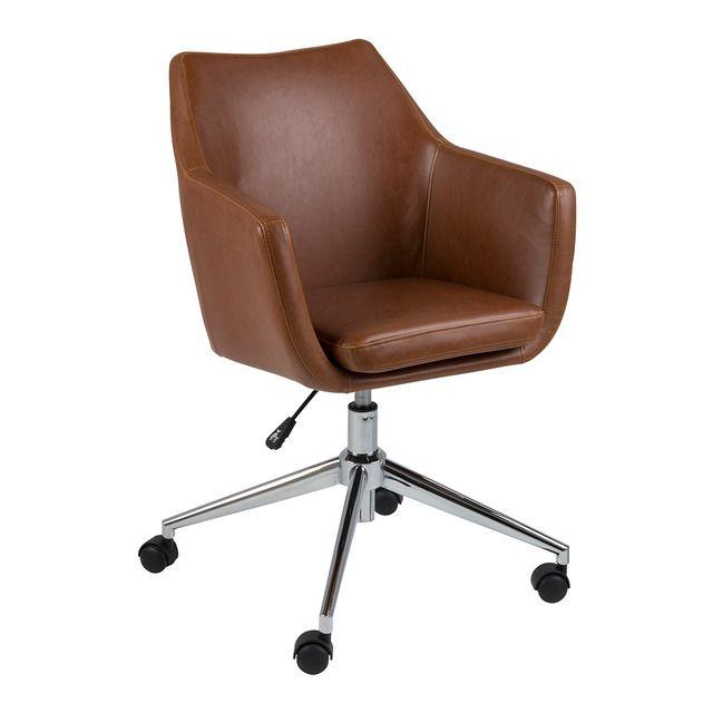 Silla de escritorio en símil piel con ruedas Nora   Sillas ...