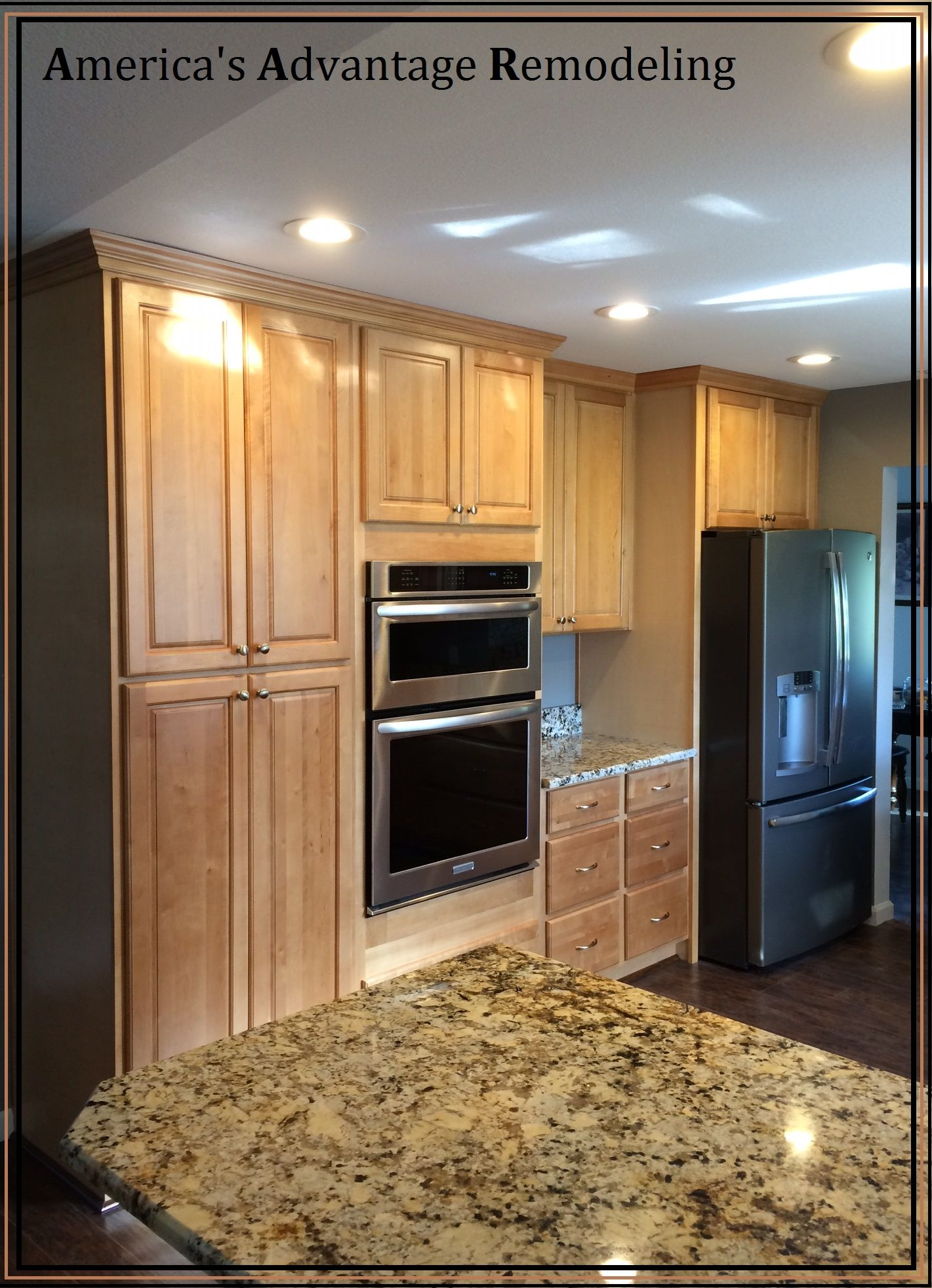Cabinet Doors Over Your Fridge To Have A Complete Set Of Kitchen Cabinets New Granite Countertops Beautiful Kitchens Kitchen Cabinets New Countertops