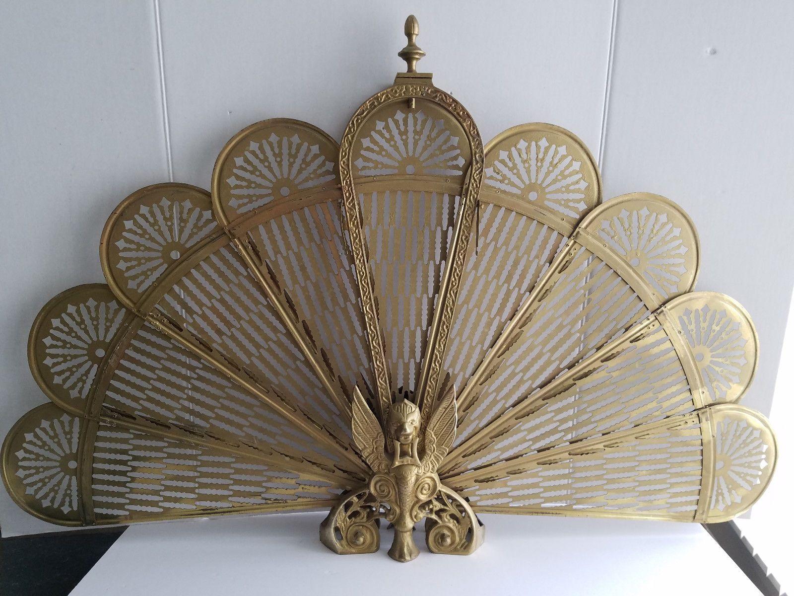 vintage brass fireplace screen folding peacock fan style with rh pinterest es