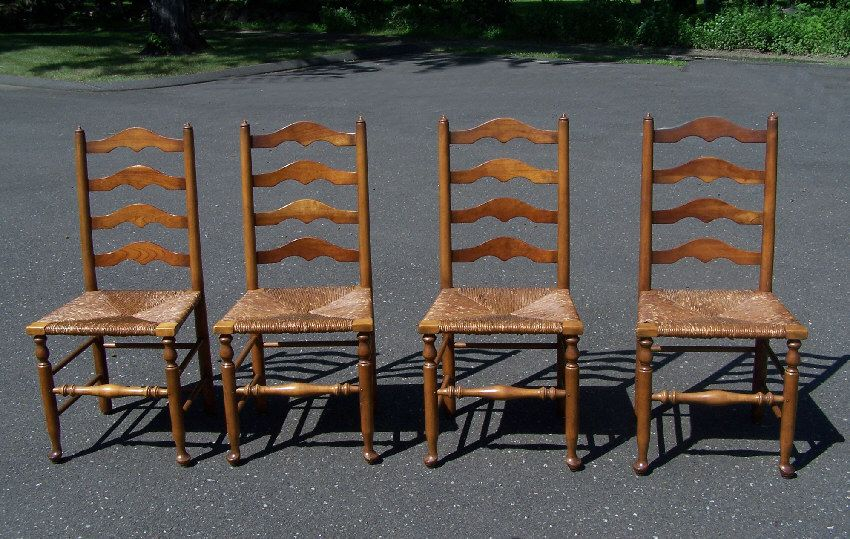Set of 4 Stickley ladder back maple chairs with rush seats c1956 - Set Of 4 Stickley Ladder Back Maple Chairs With Rush Seats C1956
