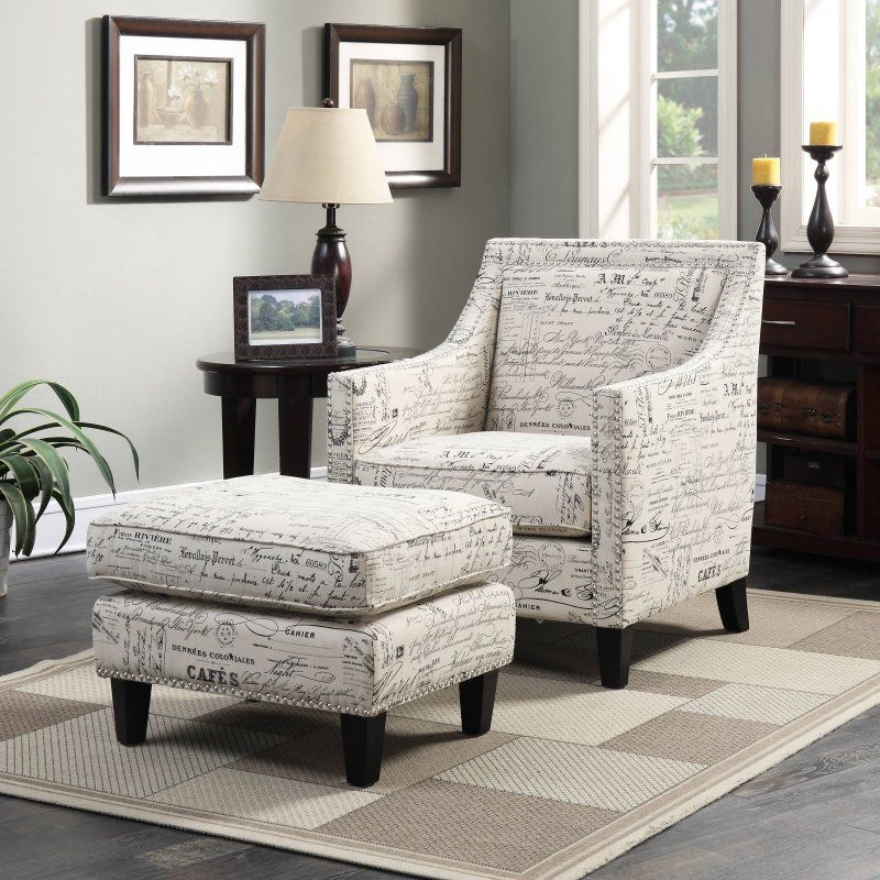 ottoman for living room%0A Picket House Emery Accent Chair and Ottoman Set  French Script  UER    PC