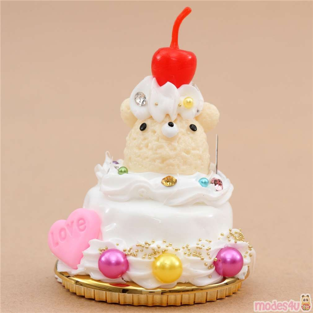 white cake cream color bear face cherry fruit dessert ...