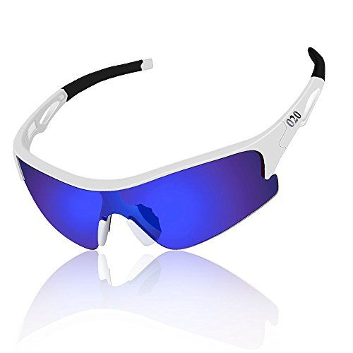 eb39e103e48 O2O Polarized Sports Sunglasses for Men Women Teens Running Driving Golf  Durable Frame White Blue   Details can be found by clicking on the image.
