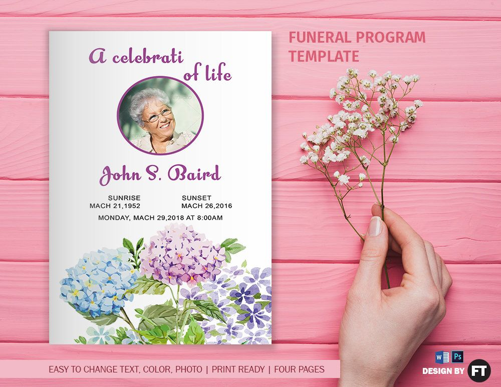 Funeral Program Template | Printable Funeral Program | Memorial ...