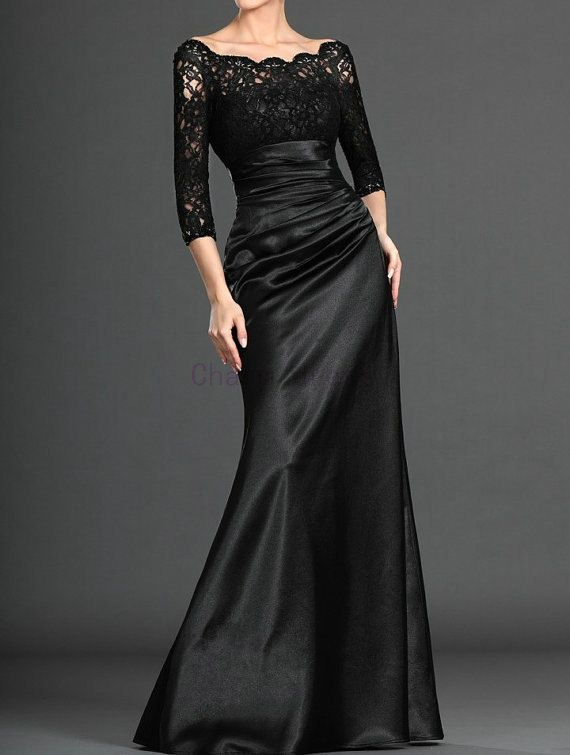 Unique Long Black Lace And Satin Evening Prom Dresses Elegant Stunning 3 4 Sleeves Gowns For Prom Satin Evening Dresses Black Evening Dresses Evening Dresses