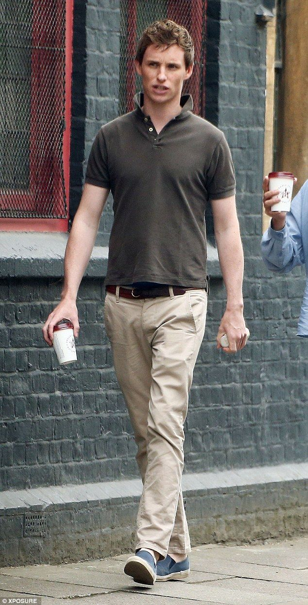 Off-duty: Eddie Redmayne cut a casual figure as he emerged in Covent Garden for his caffei...