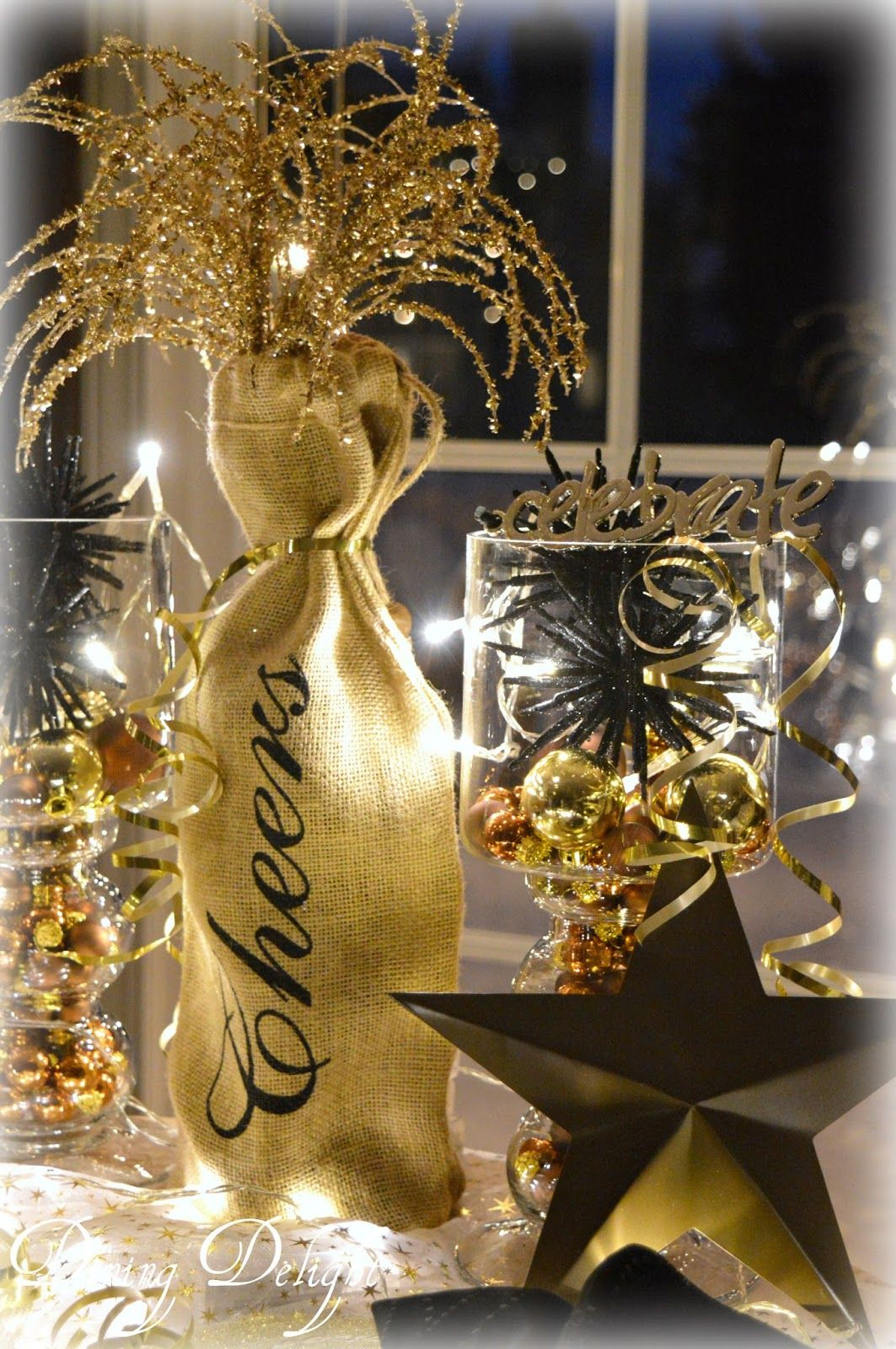 new year s eve tablescape in black gold table settings new rh pinterest com