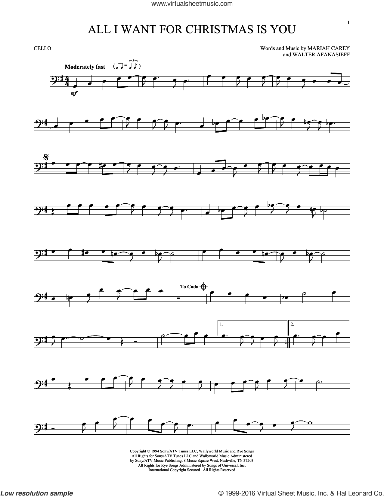 Carey All I Want For Christmas Is You Sheet Music For Cello Solo Clarinet Sheet Music Saxophone Sheet Music Cello Sheet Music