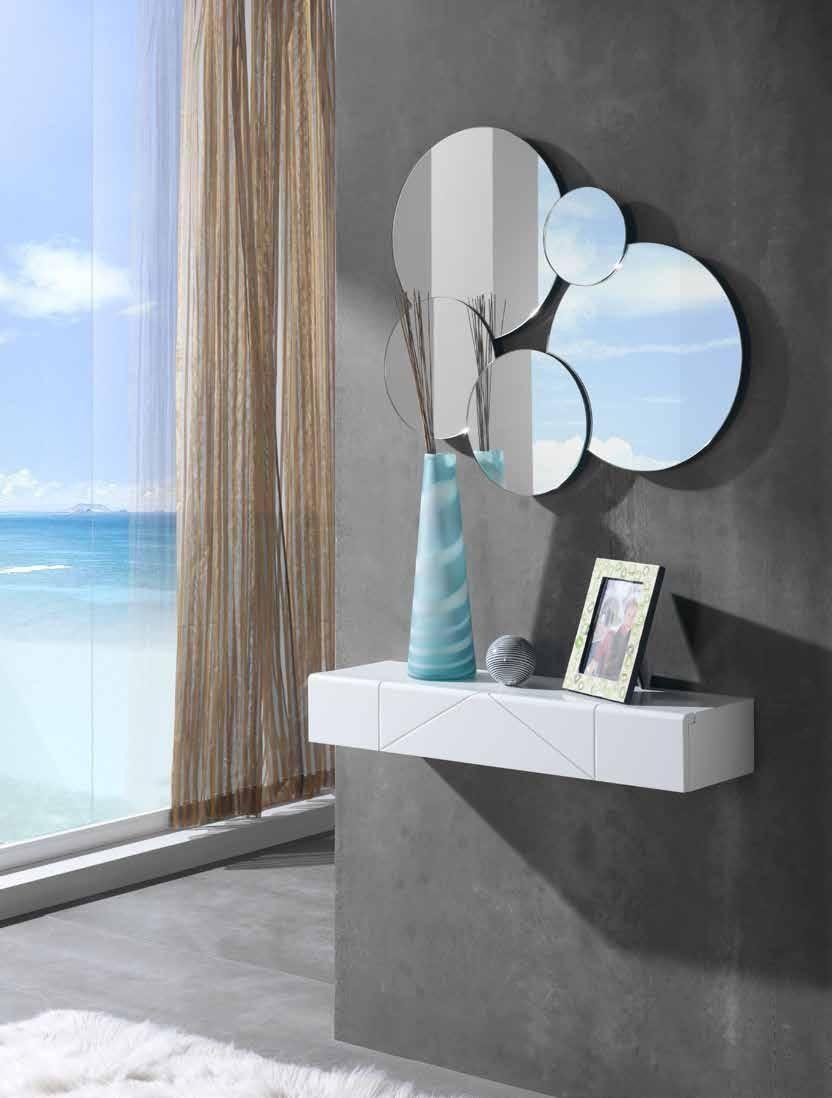 Consola y espejo moderno f 16 07 decoracion pinterest for Espejos redondos modernos