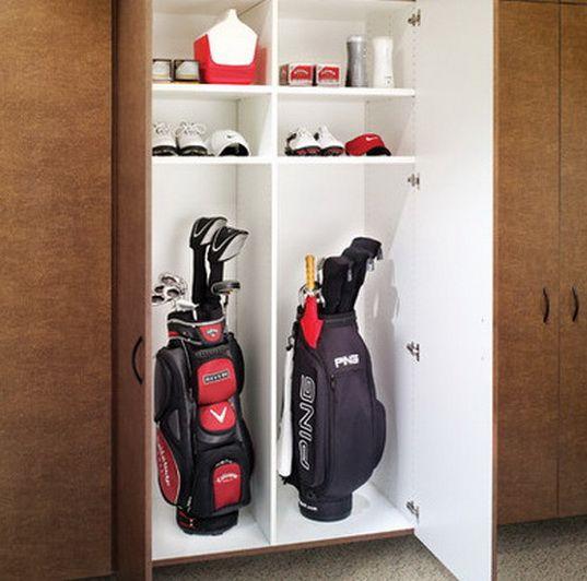 19 Garage Organization And Diy Storage, Golf Bag Garage Storage