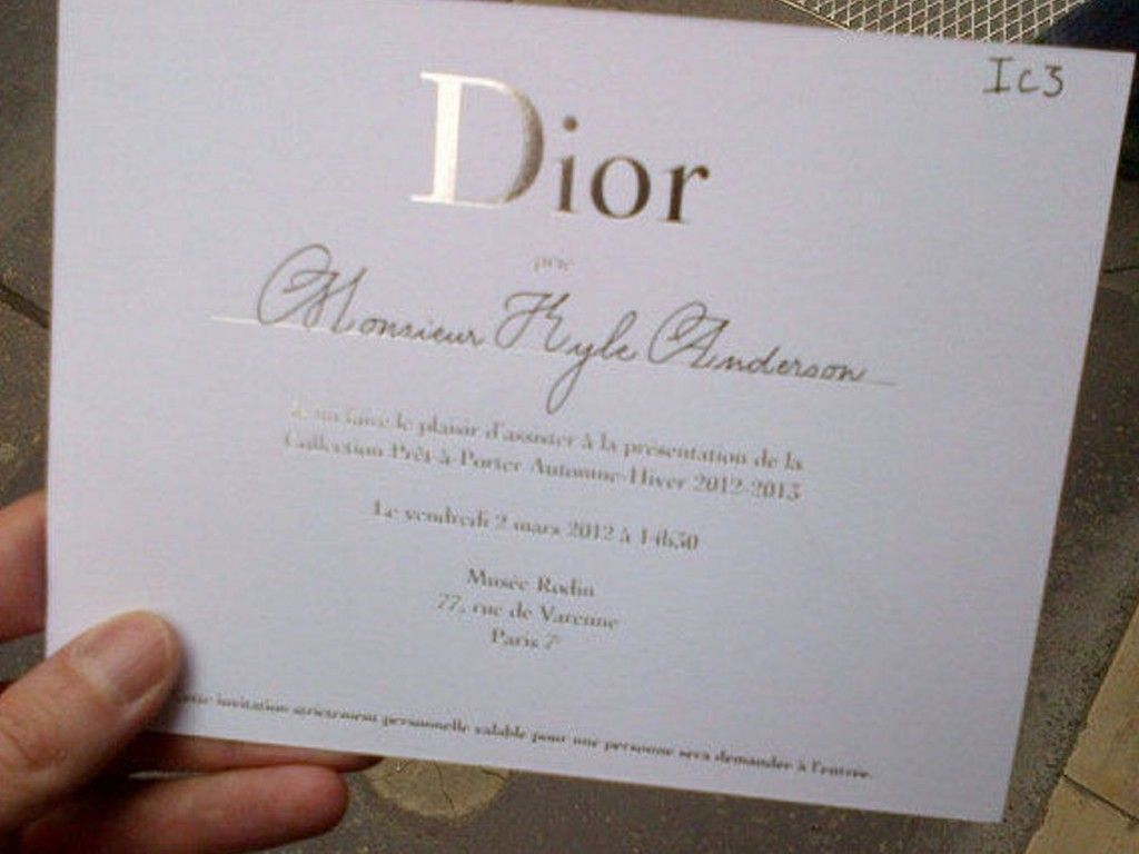 sample of wedding invitation letter%0A This Dior fashion show ticket is a classic example for ticket ideas  It is  elegant and supports the aesthetics of the brand in its stereotypical  classically